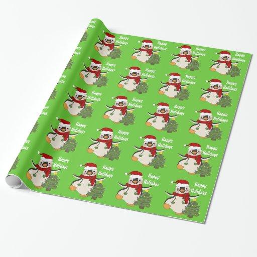 Papel de embalaje del día de fiesta del pingüino papel de regalo