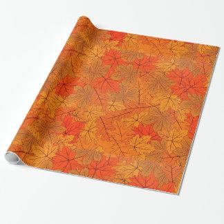 Papel de embalaje del diseño de las hojas de otoño papel de regalo