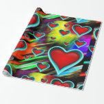 Papel de embalaje del diseño de los corazones