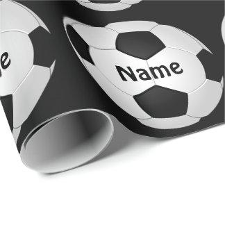 Papel de embalaje del fútbol con su NOMBRE y Papel De Regalo