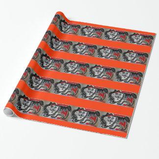 Papel de embalaje del gato del arte popular papel de regalo