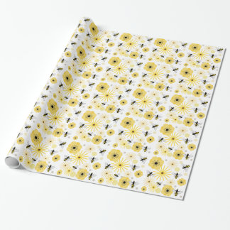 Papel de embalaje del modelo de las abejas y de papel de regalo