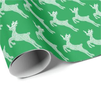 Papel de embalaje del modelo del reno del navidad papel de regalo