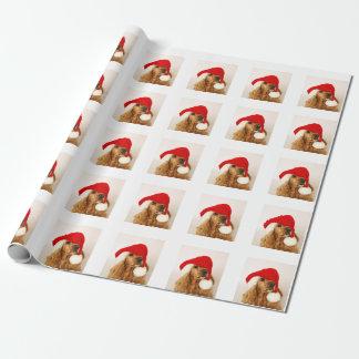 Papel de embalaje del navidad de cocker spaniel papel de regalo