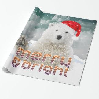 Papel de embalaje del navidad del oso polar el | papel de regalo