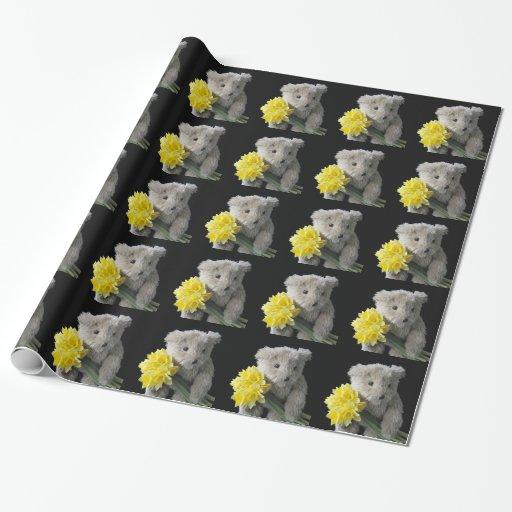 papel de embalaje del oso del narciso papel de regalo