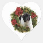 Papel de embalaje del perro de Terranova de la gui Calcomanías Corazones