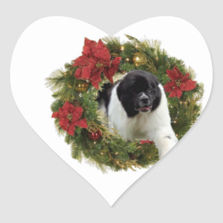 Papel de embalaje del perro de Terranova de la Pegatina En Forma De Corazón