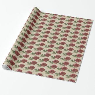 Papel de embalaje del rosa rojo del vintage papel de regalo