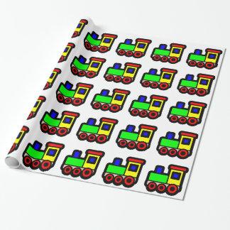 Papel de embalaje del tren del juguete papel de regalo