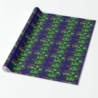 Papel de embalaje divertido de las ranas del arte papel de regalo