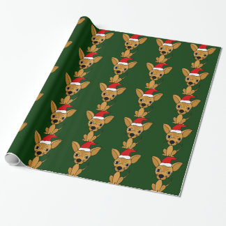 Papel de embalaje divertido del navidad del perro