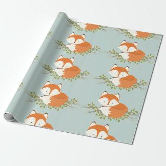 Papel de embalaje dulce del bebé del Fox del Papel De Regalo