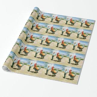 Papel de embalaje enorme del gallo papel de regalo