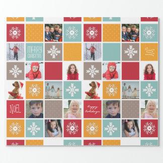 Papel de embalaje feliz de la foto del navidad del papel de regalo