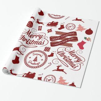Papel de embalaje festivo de las Felices Navidad