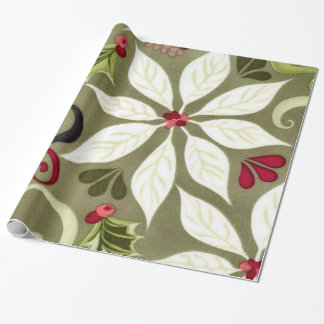 Papel de embalaje floral del día de fiesta del papel de regalo
