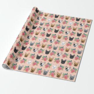 Papel de embalaje floral del dogo francés - perro papel de regalo
