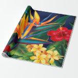 Papel de embalaje floral hawaiano del paraíso