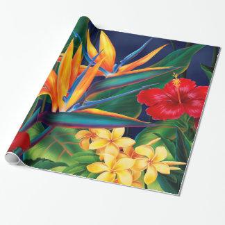 Papel de embalaje floral hawaiano del paraíso papel de regalo