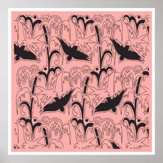 Papel de embalaje hecho saltar rosa del Bluebird d Posters