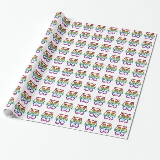 Papel de embalaje lindo del gatito del arco iris