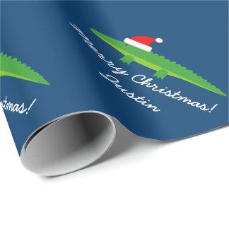 Papel de embalaje lindo del navidad del cocodrilo papel de regalo