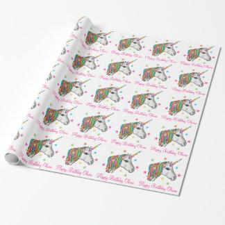 Papel de embalaje mágico del unicornio papel de regalo