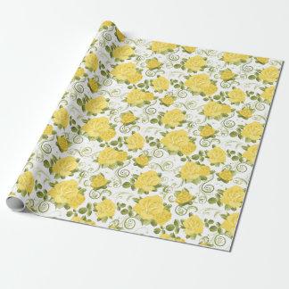 Papel de embalaje modelado de los rosas amarillos papel de regalo