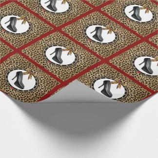 Papel de embalaje negro de la impresión del papel de regalo