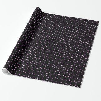 Papel de embalaje negro de los cráneos y de los papel de regalo
