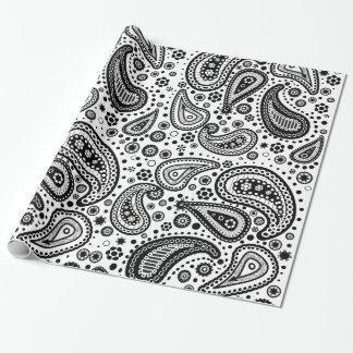 Papel de embalaje negro y blanco de Mehendi