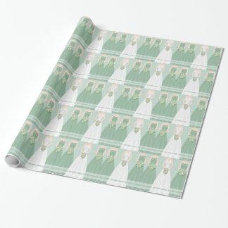 Papel de embalaje nupcial verde personalizado de