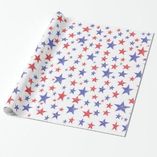 Papel de embalaje patriótico de las estrellas papel de regalo