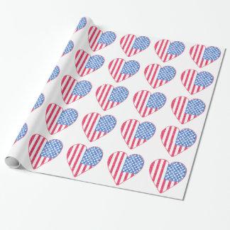 Papel de embalaje patriótico de los corazones de