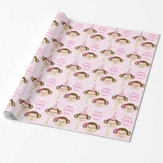 Papel de embalaje personalizado chica del mono de papel de regalo