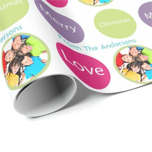 Papel de embalaje personalizado de la foto del día papel de regalo