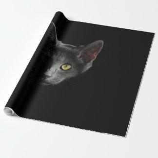 Papel de embalaje provocado del gato negro papel de regalo