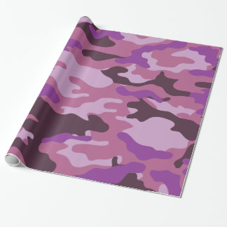 Papel de embalaje púrpura del camuflaje de Camo Papel De Regalo