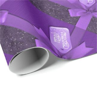 Papel de embalaje púrpura del paquete del navidad papel de regalo