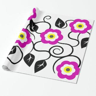 Papel de embalaje púrpura y amarillo de las hojas papel de regalo