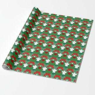 Papel de embalaje rojo, blanco y verde papel de regalo
