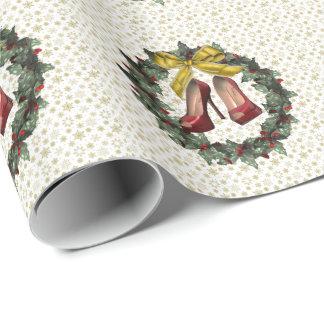 Papel de embalaje rojo de la guirnalda del día de papel de regalo