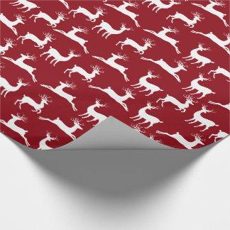 Papel de embalaje rojo del navidad blanco del reno papel de regalo