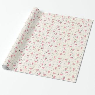 Papel de embalaje rosado atómico retro del modelo papel de regalo