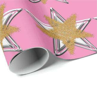 Papel de embalaje rosado de la estrella de la papel de regalo