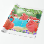Papel de embalaje rosado tropical de los pájaros