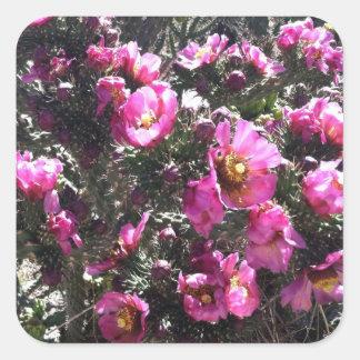 Papel de embalaje rosado vibrante de la flor del pegatina cuadrada