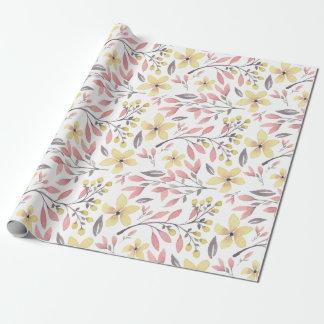 Papel de embalaje rosado y amarillo del follaje de papel de regalo