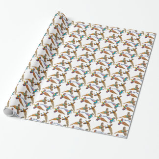 Papel de embalaje salvaje de cuatro faisanes papel de regalo